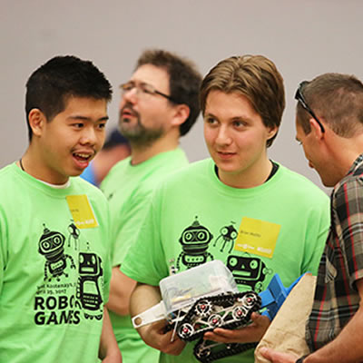 Brian Malito (centre) is a Grade 12 student from J L Crowe Secondary School in Trail. He's competed in four RoboGames including the first one held in Nelson in 2010.