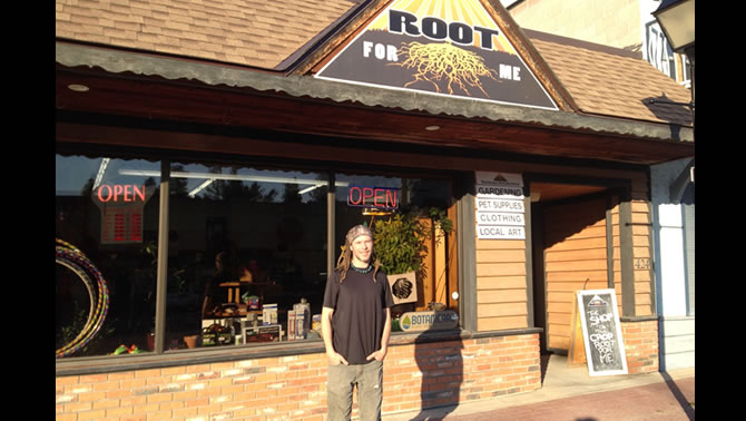 Owner Alan Bowler stands in front of his store, Root For Me, in Marysville, B.C.