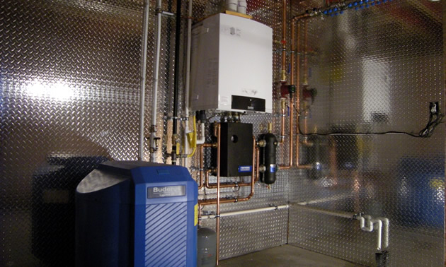 This European heating system is one that Ksiazek uses in every home he builds with Rossland Builder.