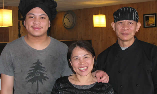 (L to R) Phanuphong (Bass), Chansuai (Mam) and Udorn Siri own and operate the Family Thai Restaurant in Cranbrook.
