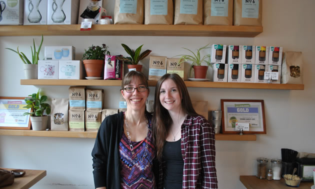 Castlegar's Crumbs Bakery Café is one of the businesses that benefited last year from Columbia Basin Trust's School Works program. Left to right: Susanne Thomas (owner) and Cameran Millar (student).