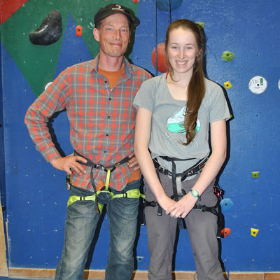 Spirit Rock Climbing Center in Kimberley is one of the businesses that benefited last year from Columbia Basin Trust's School Works program. Left to right: Ryan Tarves (co-owner) and Mackenzie McLean (student).