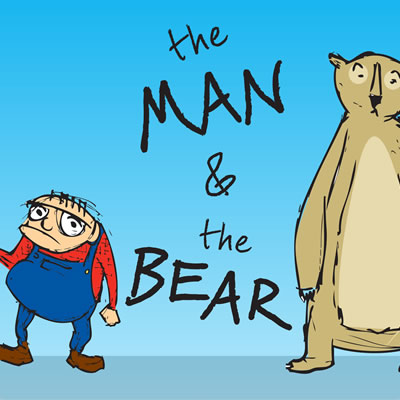 Illustrated cover of book showing a small man dressed in blue coveralls and a large bear, with the text