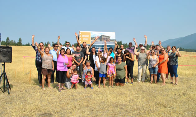 The Tobacco Plains Indian Band's community and supporters at yesterday's ground breaking.