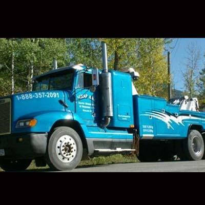 Blue tow truck.