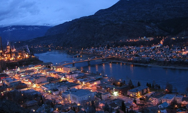Trail, B.C., at night along the banks of the Columbia River.