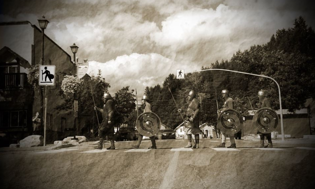 The Sons of Fenrir walk the streets of Kimberley from the Viking Village to the Platzl.