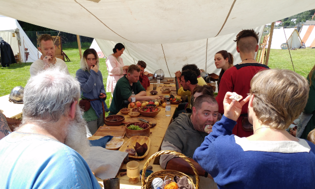 Medieval participants ate in the Viking Village, a temporary residence inside Coronation Park for the weekend of the Kimberley Medieval Festival. Temperatures reached into the high 30s during the weekend. Staying hydrated and taking rests was important.