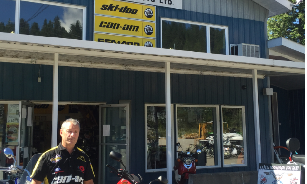 Jim Bradbury stands outside his store Playmor Power Products in Crescent Valley, B.C.