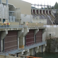 Four exclusion gates prevent the endangered sturgeon from entering the powerhouse.