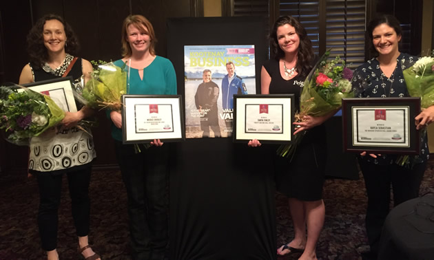 Mary Austin, Nicole Cherlet, Tanya Finley and Kayla Sebastian received  Influential Women in Business Awards from Kootenay Business magazine.