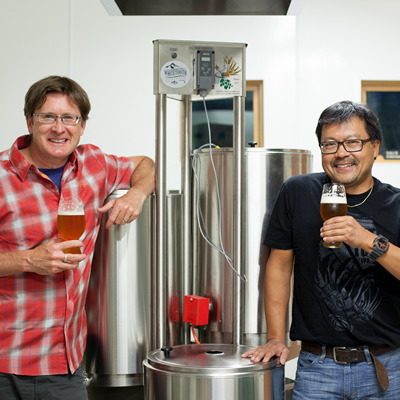 Kenton Donaldson and Mark Nagao are the owners of Whitetooth Brewing Co., which is under construction in Golden, B.C.