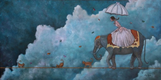 Ting Yuen produces whimsical dreamscape paintings.
