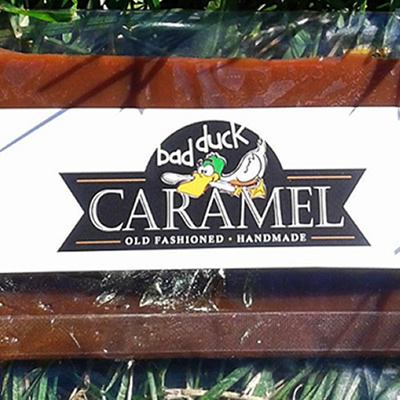 Label for Bad Duck Caramel Company.