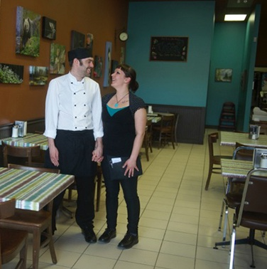 Chris Earle and Crystal Dillabough in their downtown Cranbrook location of The Baker Street Café