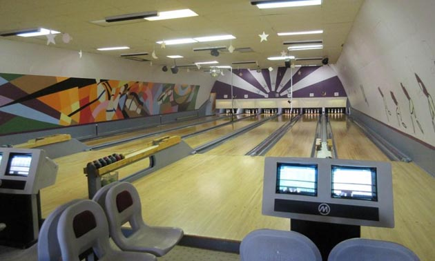 Picture of inside of bowling alley.
