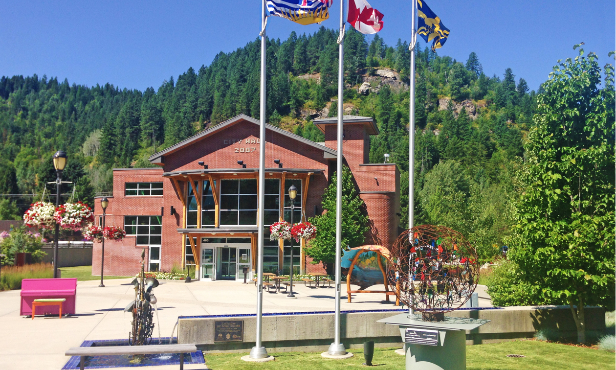 Whimsical public art and lovely green space invite visitors to Castlegar City Hall.