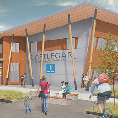 An artist's rendition of the new ultra-modern Castlegar Chamber of Commerce and Visitor's Centre building.