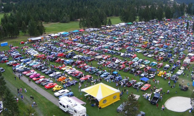 An aerial view of the Columbia Valley Classics Autumn Show & Shine event.
