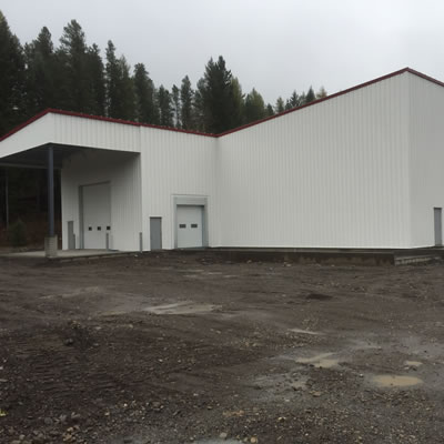 Picture of construction in Sparwood on the new Cummins building.