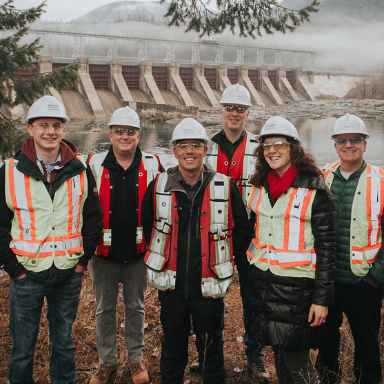 Left to right: Ben Marken (Selkirk College), Blair Weston (FortisBC), Roger Austin (Austin Engineering), Darren McElhinney (FortisBC), Mary Austin (Austin Engineering) and Jason Taylor (Selkirk College)