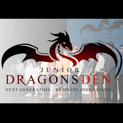 Collage of Dragons' Den logo and competition picture.