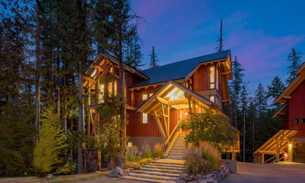 A timberframe home for sale in Fernie currently listed at $1,275,000
