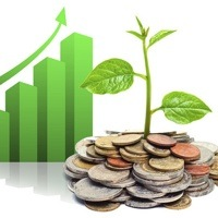 A graphic of a small tree growing out of a pile of coins, with a green growth graph behind.