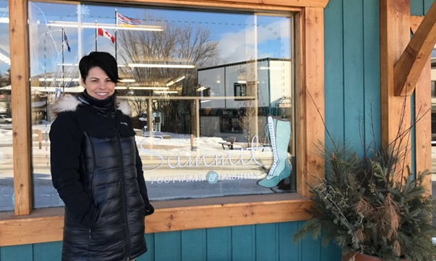 Jocelyn Brunner stands in front of her Invermere store, Summit Footwear & Fashion.
