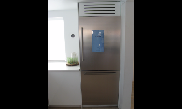 The smart fridge knows not only what foods you have available, it gives recipe ideas based on that food.