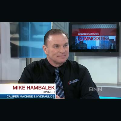 Mike Hambalek, owner of Caliper Machine and Hydraulics Ltd., appears live on a BNN Commodities episode to discuss his business.