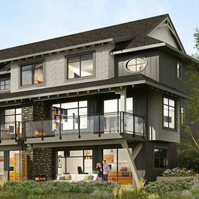 Artist's conception of residential townhome project, Highland Crossing.