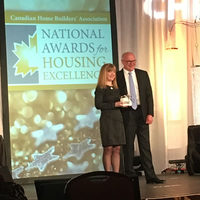 Michael Delich being recognized at a recent Kelowna gala for his leadership in the housing industry by the Canadian Home Builders' Association.