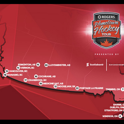 Graphic of the Hometown Hockey map.