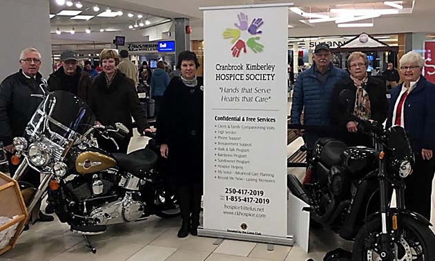 ?Cranbrook Kimberley Hospice Society board members and volunteers with the two prize bikes featured in the 2017 Harley Davidson Fundraising Raffle.