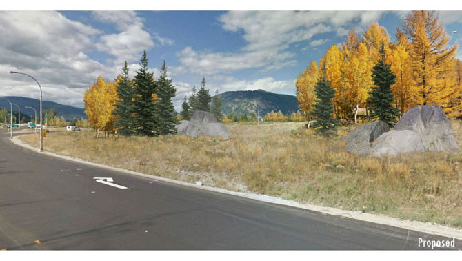 A rendering of tree plantings at the gateway at Highway 3 to Castlegar