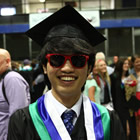 Congratulations! An international student from Korea celebrates his success at Selkirk Secondary School's graduation ceremony in Kimberley in June, 2013.