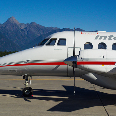 One of Integra Air's Jetstream 3100 jets sitting on the tarmac at Cranbrook Rockies International Airport.