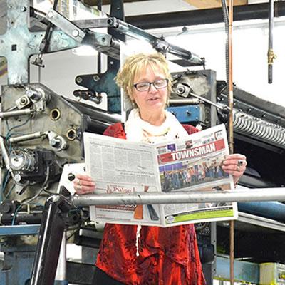 Karen Johnston, longtime publisher of the Cranbrook Townsman newspaper.
