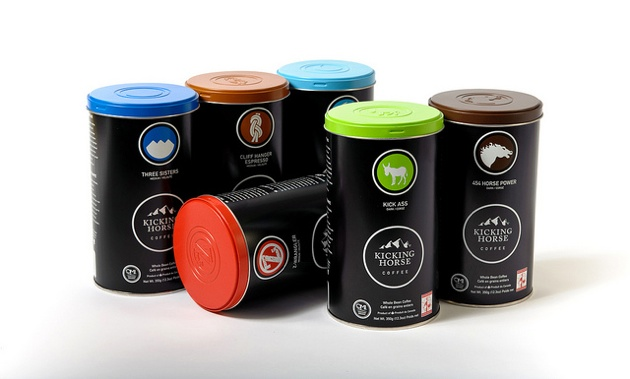 Six of the most popular Kicking Horse Coffee blends. Blends available, left to right, back row: Three Sisters; Cliff Hanger Espresso; Decaf (H2O processed). Left to right, middle and front row: Z-Wrangler; Kick Ass; and 454 Horse Power.