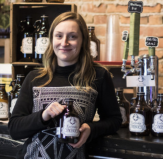 Kootenay Kombucha owner Lavinia Lidstone shows off her successful keg and growler system in Ellison's Cafe in Nelson, B.C., where customers can get her delicious health drink on tap.