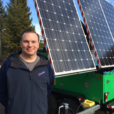 Mike Hambalek by Soleco's second generation solar and wind-powered light tower