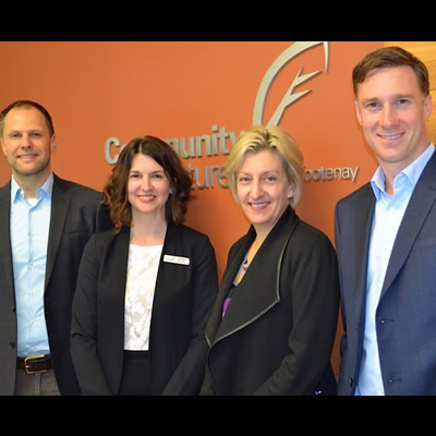 From left to right: Michael Hoher, Export Advisor, Andrea Wilkey, Executive Director Community Futures Central Kootenay, Allison Boulton, Program Manager, Export Navigator Program, and David Coburn, Manager of Strategy and Policy, Ministry of International Trade.