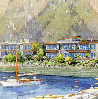 An artist rendition Nelson Landing with the marina in the forground.
