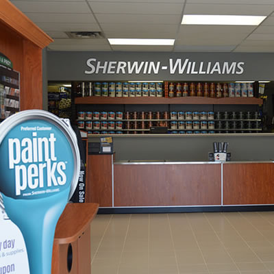 Picture of the newly redone Sherwin-Williams store showing the front desk.