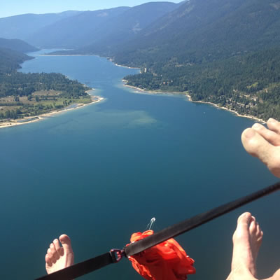 A bird's-eye view of Kootenay Lake from a paraglider.