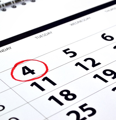 A calendar with the date of Monday the 4th circled in red.