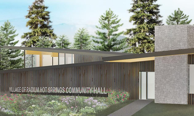 Design sketch of the new community centre in Radium Hot Springs.