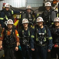First group of rescue team members to receive underground training - Front row (L-R) Preston Engel, Steve Kallies, Cory Robinson, Collin Kilford, Matt Peterson Back row (L-R)  Brent Roberts (Staff), Josh  Kendrick, Miles Potter.