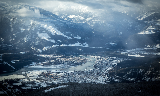 An aerial view of winter in Revelstoke.